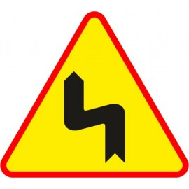 Naklejka znak ostrzegawczyA-4 Niebezpieczne zakręty, pierwszy w lewo