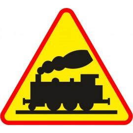 Naklejka znak ostrzegawczy A-10 przejazd kolejowy niestrzeżony, bez rogatek