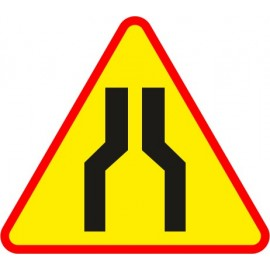 Naklejka znak ostrzegawczy A-12a Zwężenie jezdni - dwustronne