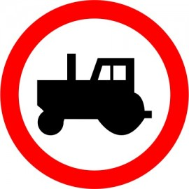 Naklejka B-6 zakaz wjazdu ciągników rolniczych
